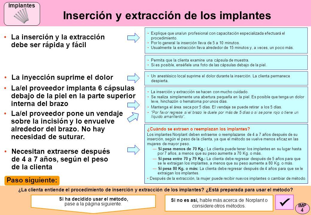 Inserción y extracción de los implantes