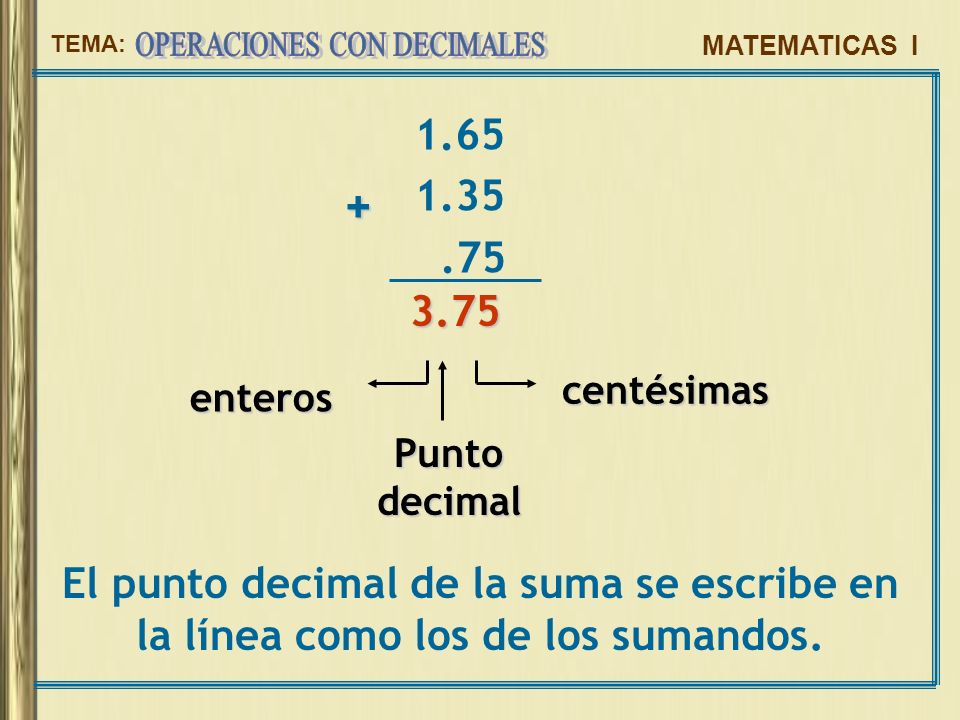 1.65 1.35. .75. + 3.75. centésimas. enteros.