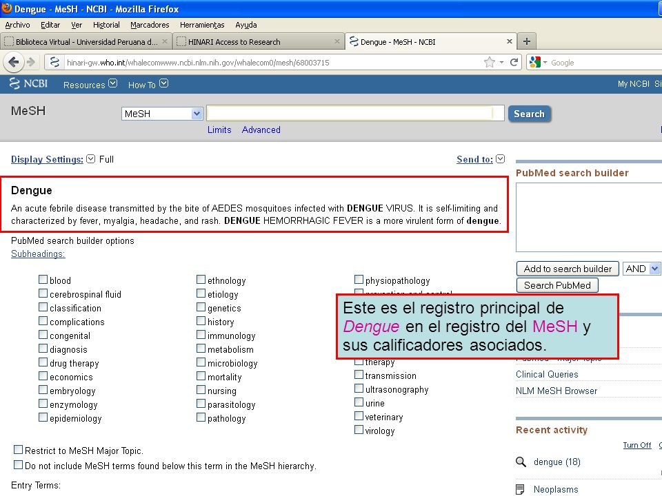 Este es el registro principal de Dengue en el registro del MeSH y sus calificadores asociados.