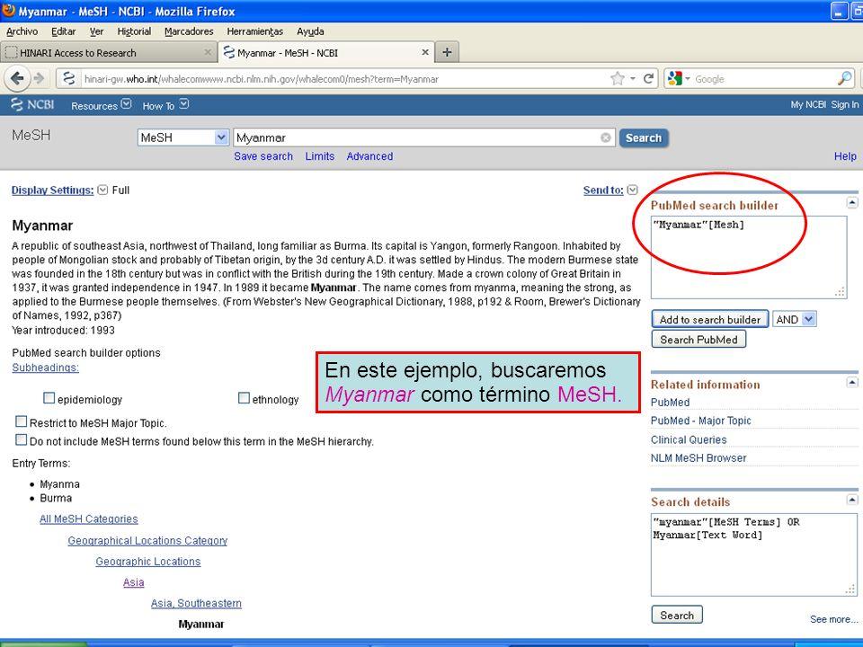 En este ejemplo, buscaremos Myanmar como término MeSH.