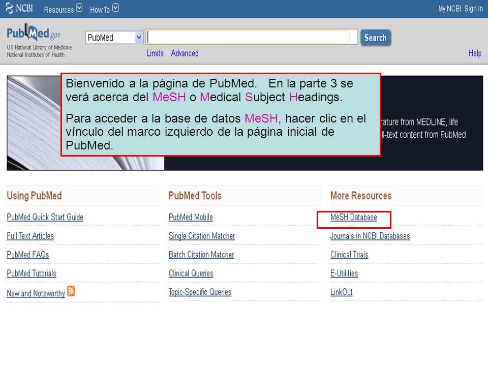Bienvenido a la página de PubMed