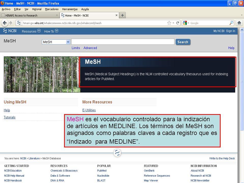 MeSH es el vocabulario controlado para la indización de artículos en MEDLINE. Los términos del MeSH son asignados como palabras claves a cada registro que es Indizado para MEDLINE .