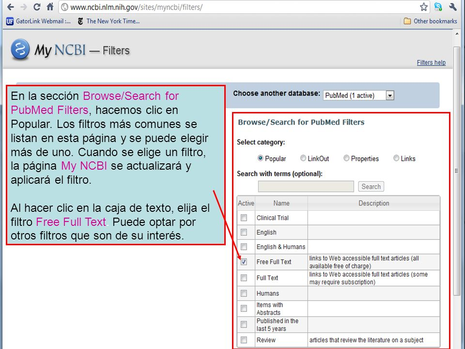 En la sección Browse/Search for PubMed Filters, hacemos clic en Popular.
