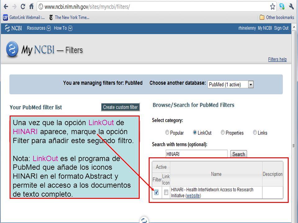 Una vez que la opción LinkOut de HINARI aparece, marque la opción Filter para añadir este segundo filtro.