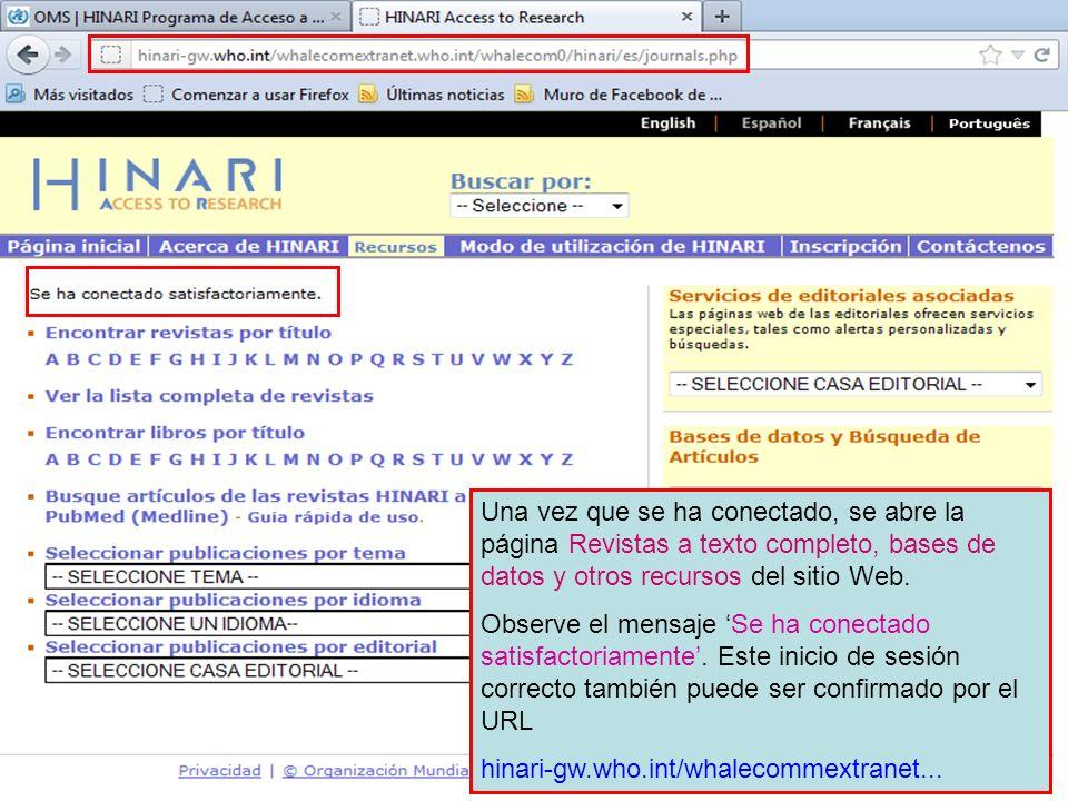Una vez que se ha conectado, se abre la página Revistas a texto completo, bases de datos y otros recursos del sitio Web.