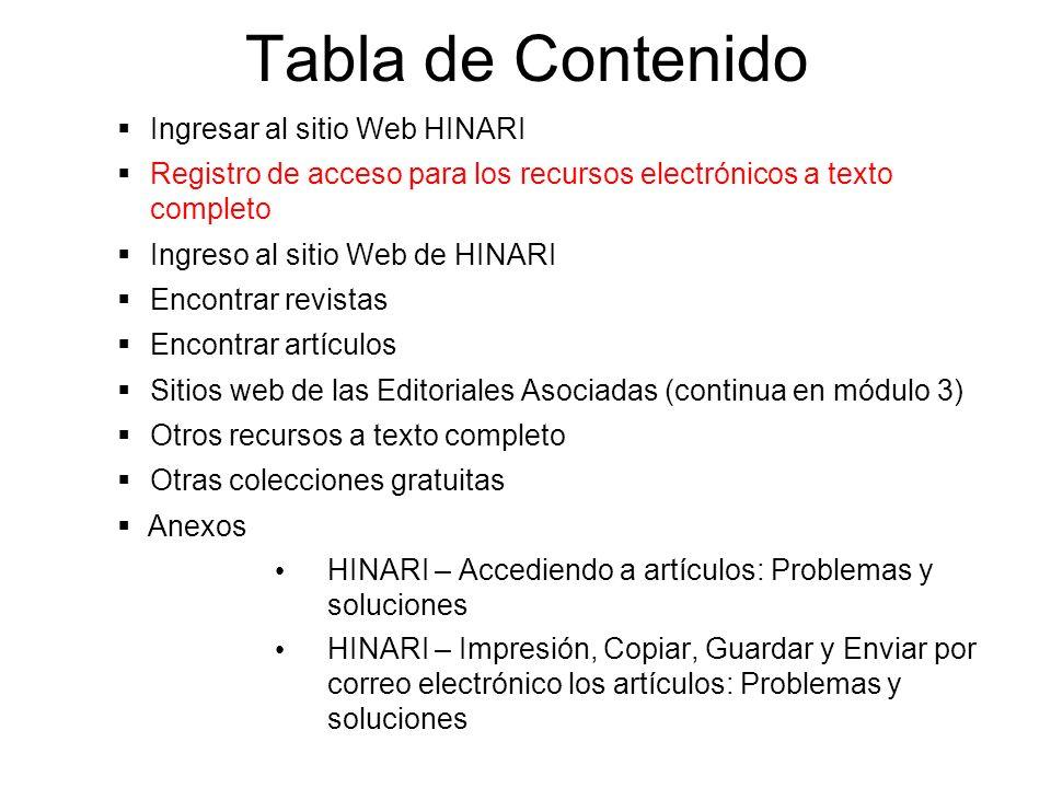 Tabla de Contenido Ingresar al sitio Web HINARI