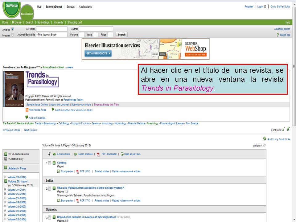 Al hacer clic en el título de una revista, se abre en una nueva ventana la revista Trends in Parasitology.