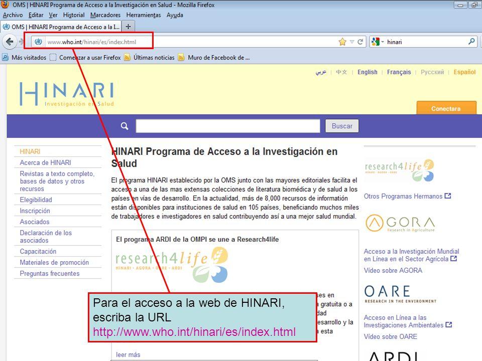 The HINARI website address