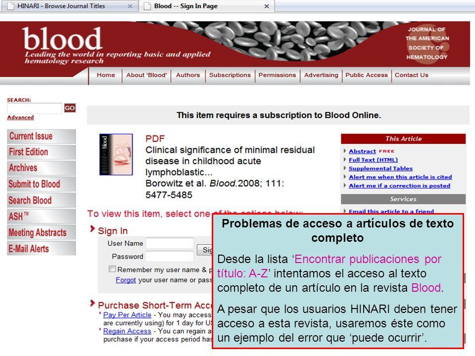 Problemas de acceso a artículos de texto completo
