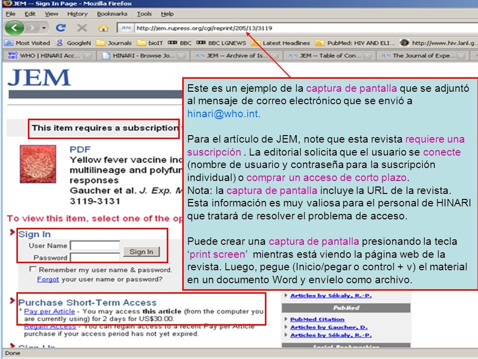 Este es un ejemplo de la captura de pantalla que se adjuntó al mensaje de correo electrónico que se envió a hinari@who.int.