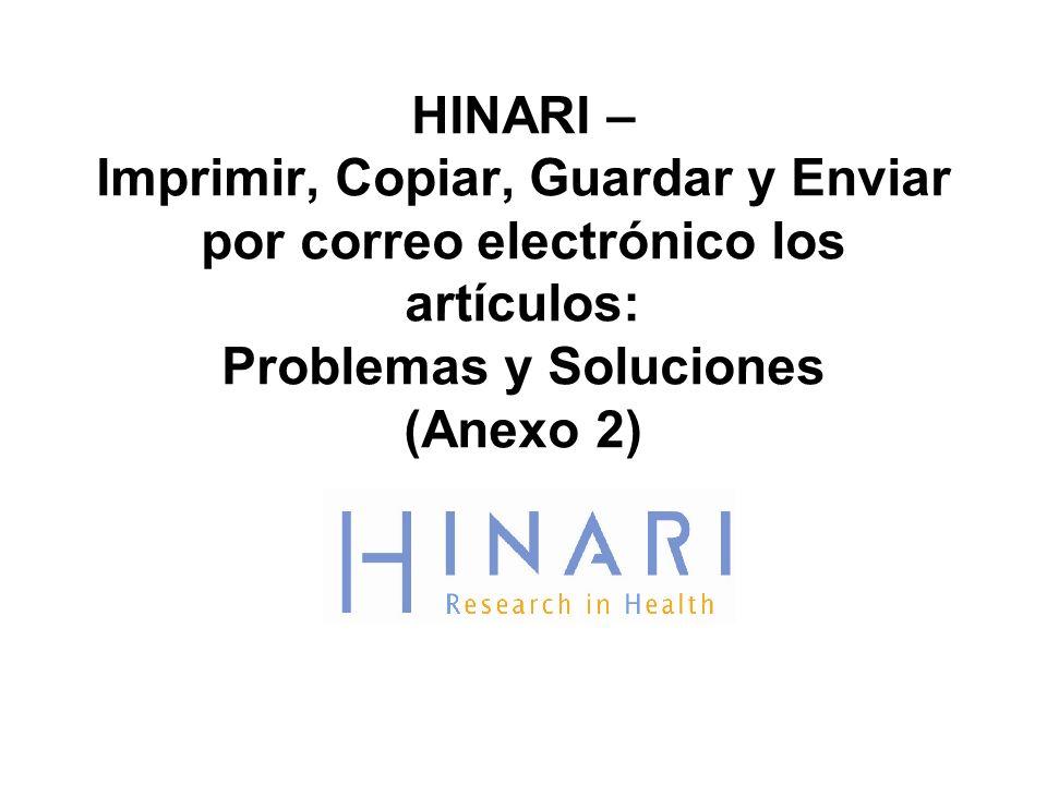 HINARI – Imprimir, Copiar, Guardar y Enviar por correo electrónico los artículos: Problemas y Soluciones (Anexo 2)