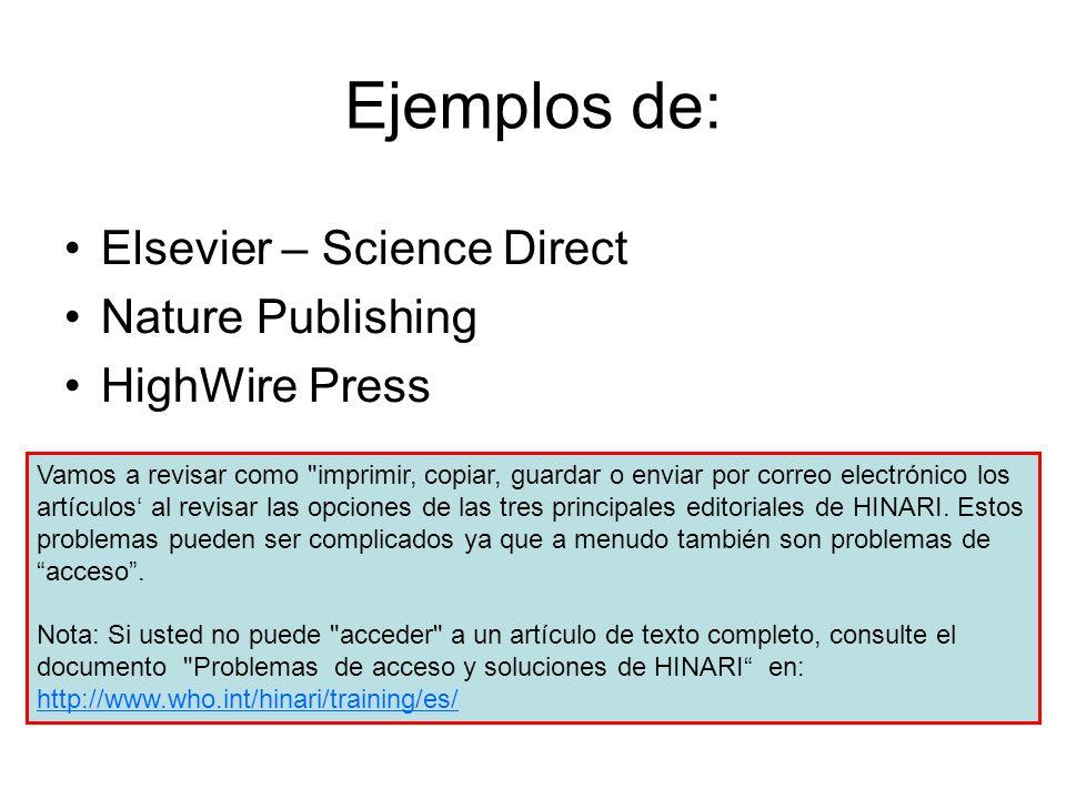 Ejemplos de: Elsevier – Science Direct Nature Publishing