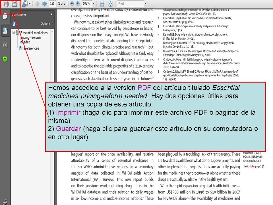Hemos accedido a la versión PDF del artículo titulado Essential medicines pricing-reform needed.