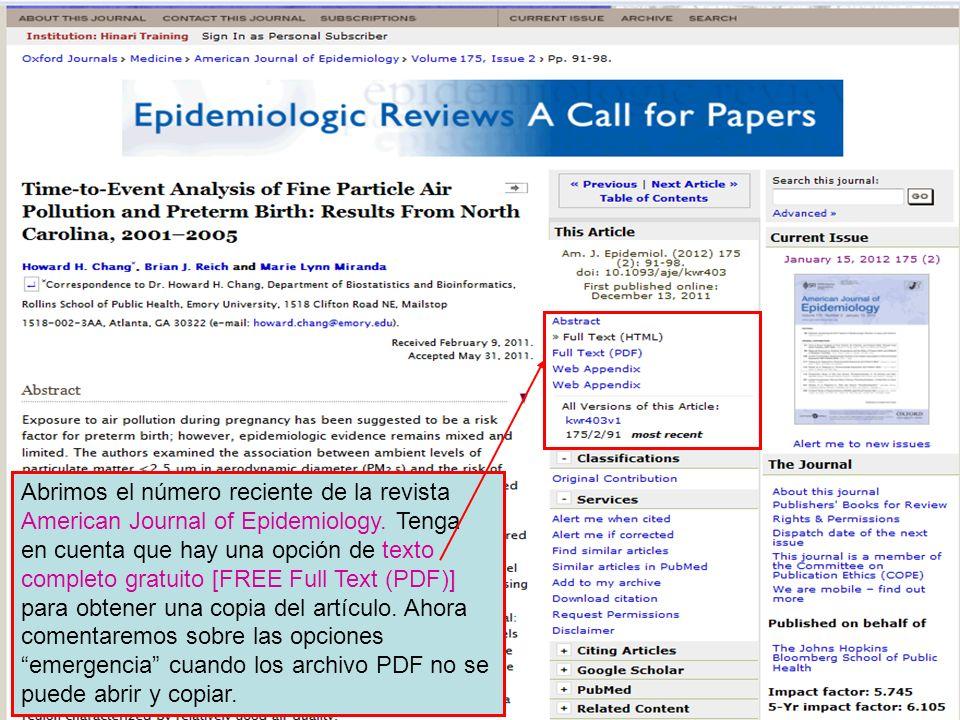 Abrimos el número reciente de la revista American Journal of Epidemiology.