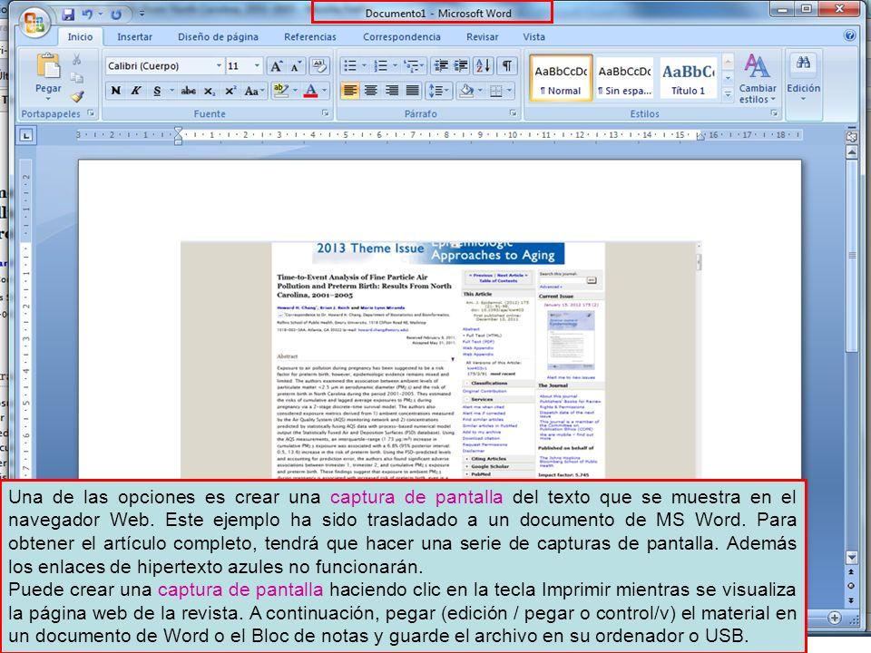 Una de las opciones es crear una captura de pantalla del texto que se muestra en el navegador Web. Este ejemplo ha sido trasladado a un documento de MS Word. Para obtener el artículo completo, tendrá que hacer una serie de capturas de pantalla. Además los enlaces de hipertexto azules no funcionarán.
