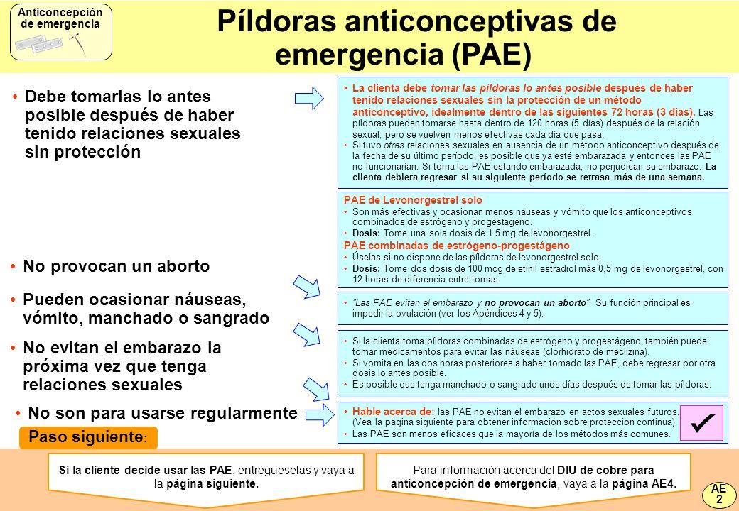 Píldoras anticonceptivas de emergencia (PAE)