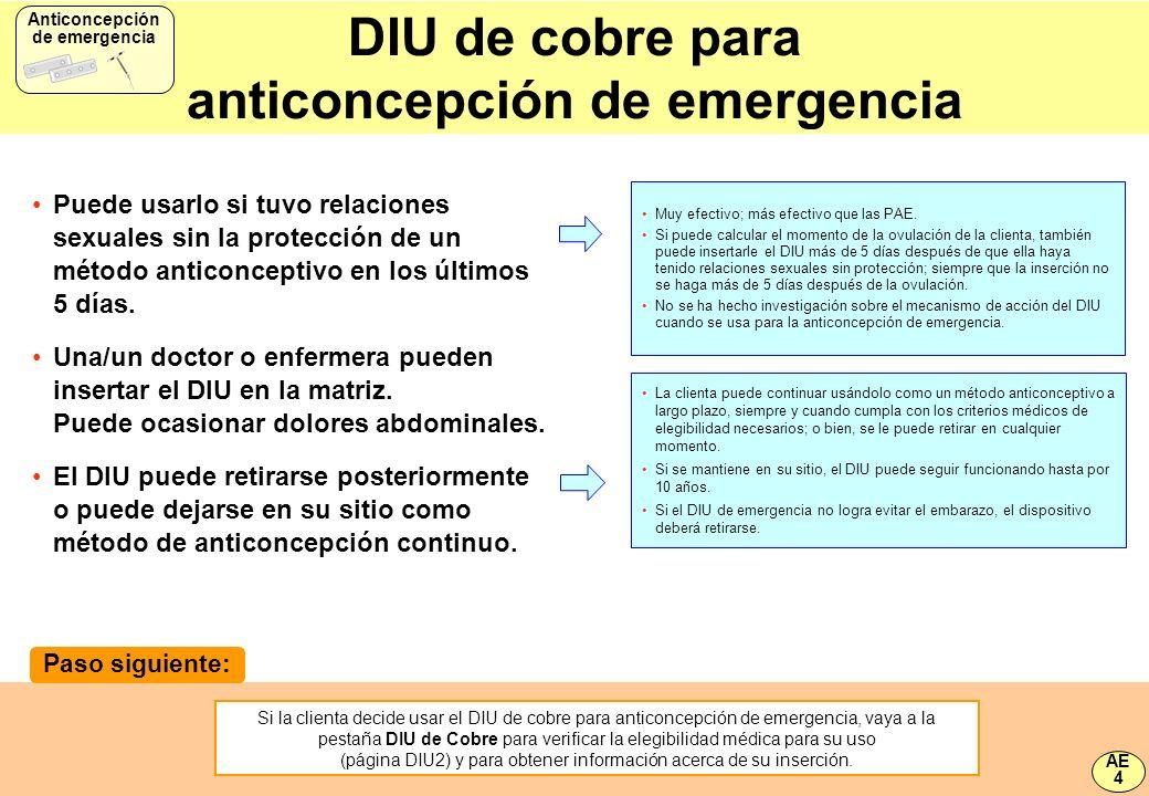 DIU de cobre para anticoncepción de emergencia