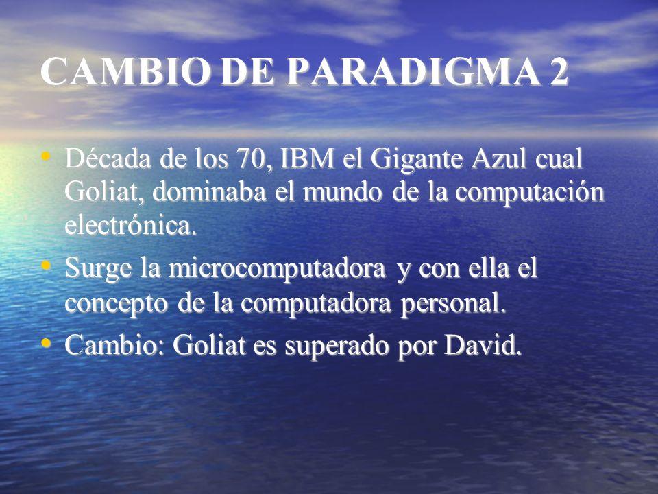CAMBIO DE PARADIGMA 2 Década de los 70, IBM el Gigante Azul cual Goliat, dominaba el mundo de la computación electrónica.
