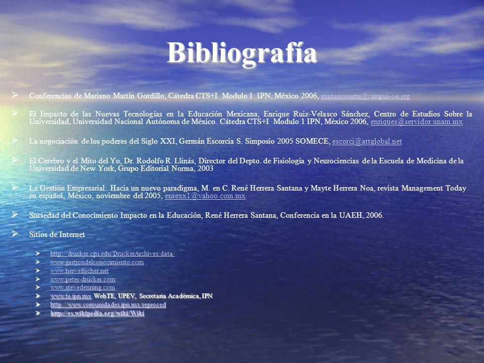 Bibliografía Conferencias de Mariano Martín Gordillo, Cátedra CTS+I Modulo 1 IPN, México 2006, marianomartin@campus-oei.org.