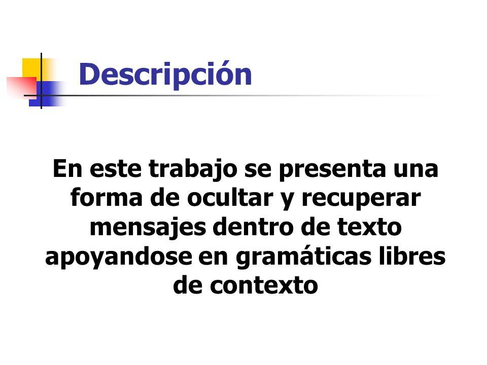 Descripción En este trabajo se presenta una forma de ocultar y recuperar mensajes dentro de texto apoyandose en gramáticas libres de contexto.