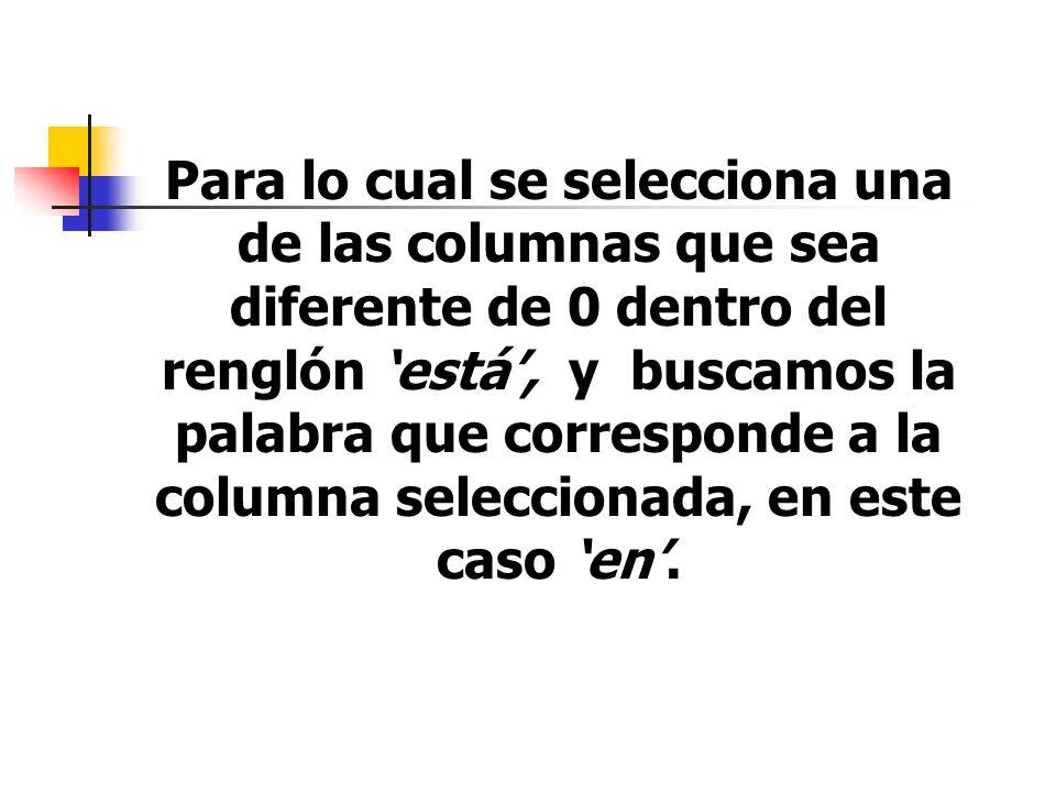 Para lo cual se selecciona una de las columnas que sea diferente de 0 dentro del renglón 'está', y buscamos la palabra que corresponde a la columna seleccionada, en este caso 'en'.