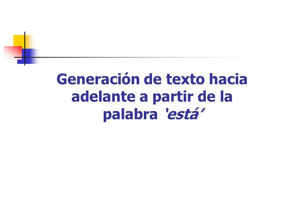 Generación de texto hacia adelante a partir de la palabra 'está'