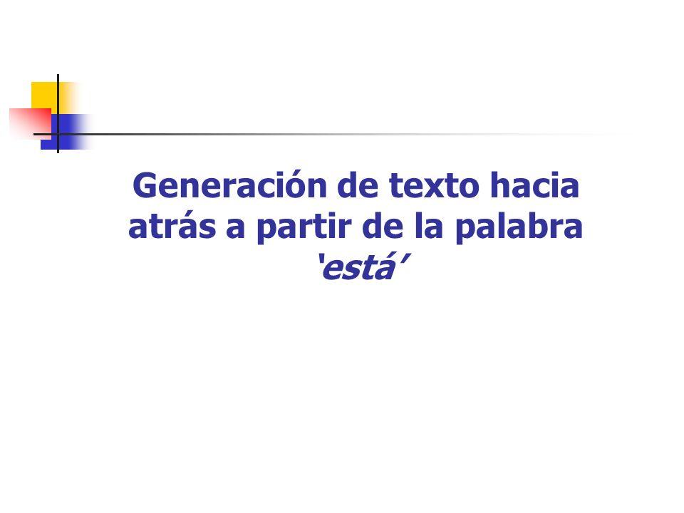 Generación de texto hacia atrás a partir de la palabra 'está'