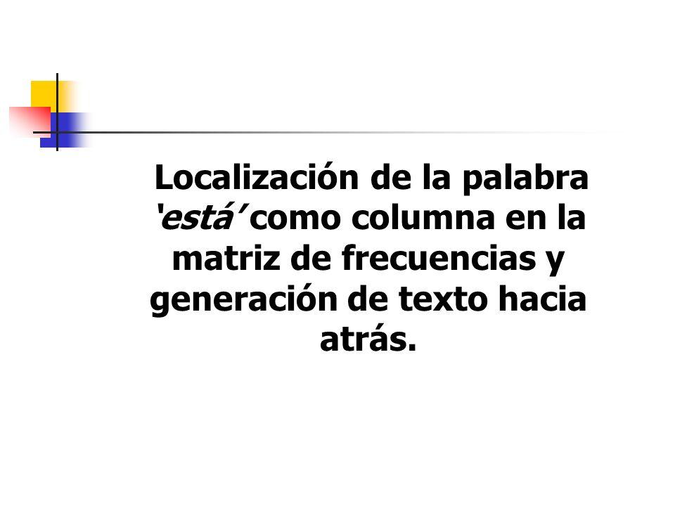 Localización de la palabra 'está' como columna en la matriz de frecuencias y generación de texto hacia atrás.