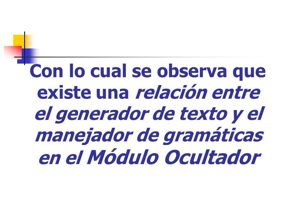 Con lo cual se observa que existe una relación entre el generador de texto y el manejador de gramáticas en el Módulo Ocultador