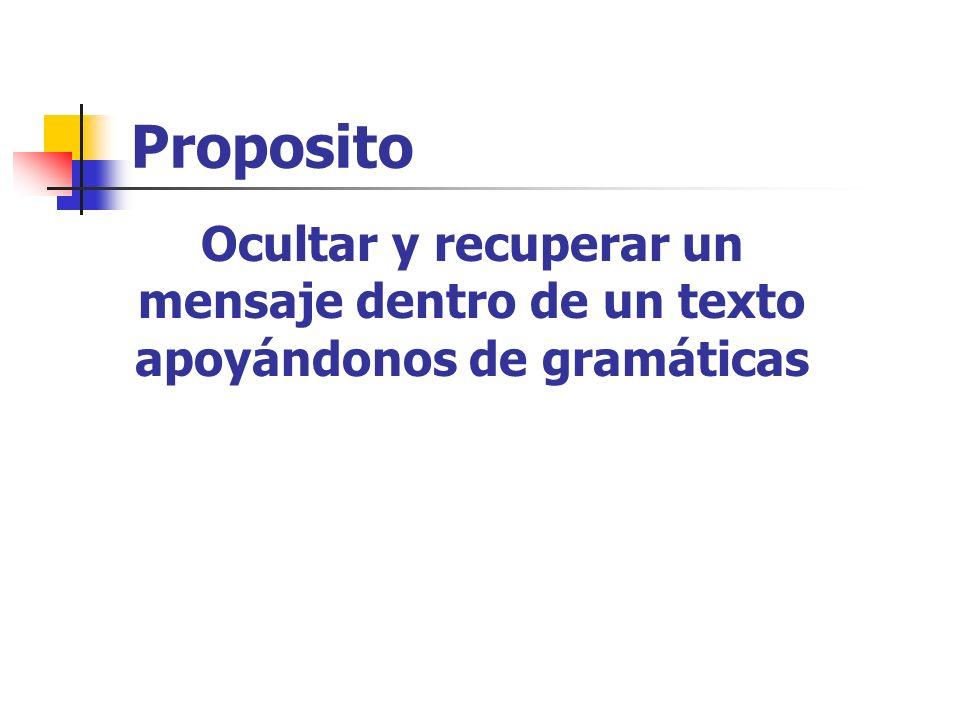 Proposito Ocultar y recuperar un mensaje dentro de un texto apoyándonos de gramáticas