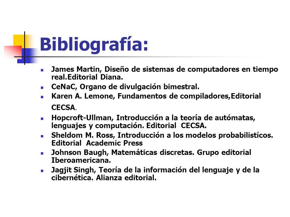 Bibliografía: James Martin, Diseño de sistemas de computadores en tiempo real.Editorial Diana. CeNaC, Organo de divulgación bimestral.