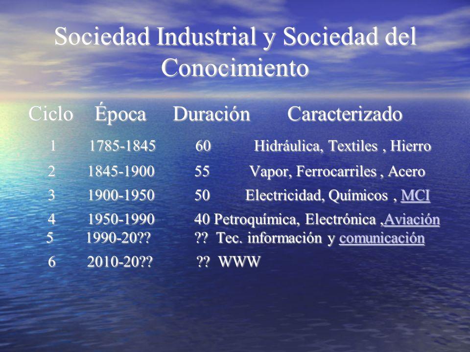 Sociedad Industrial y Sociedad del Conocimiento