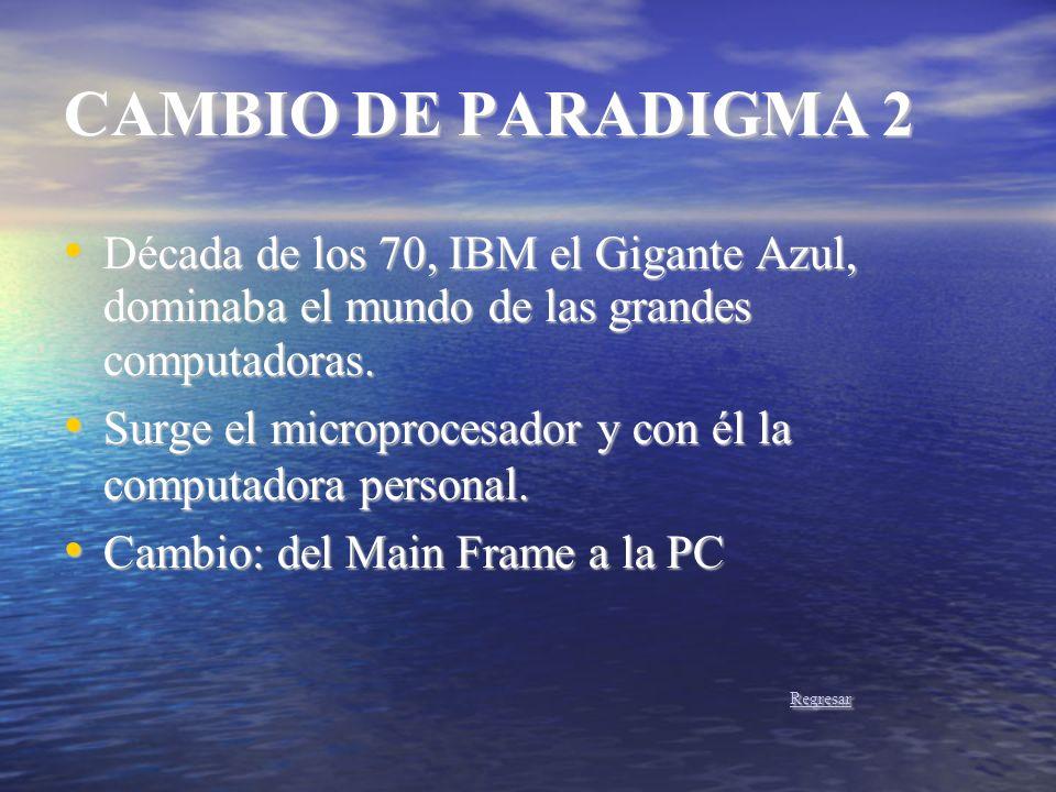 CAMBIO DE PARADIGMA 2 Década de los 70, IBM el Gigante Azul, dominaba el mundo de las grandes computadoras.