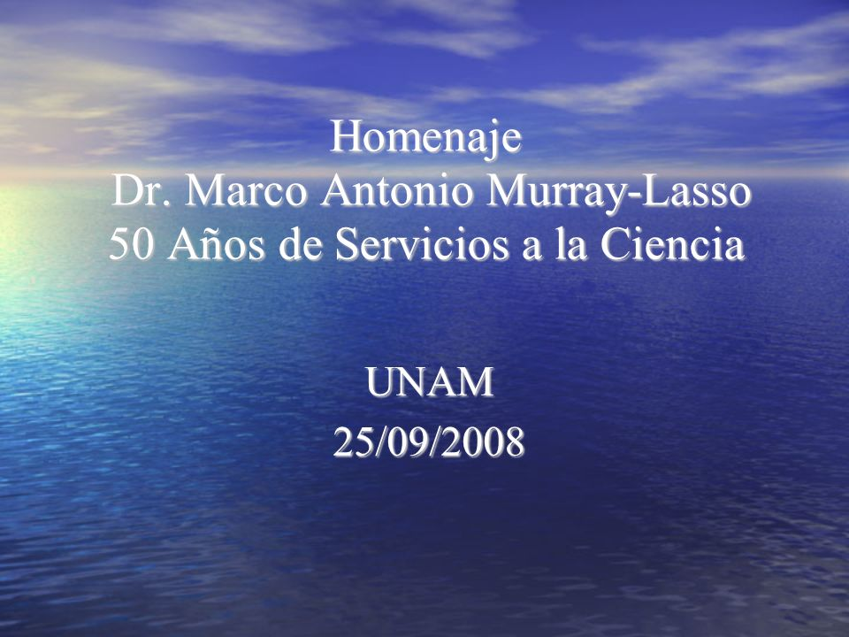 Homenaje Dr. Marco Antonio Murray-Lasso 50 Años de Servicios a la Ciencia