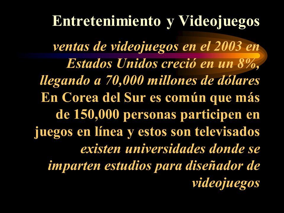 Entretenimiento y Videojuegos ventas de videojuegos en el 2003 en Estados Unidos creció en un 8%, llegando a 70,000 millones de dólares En Corea del Sur es común que más de 150,000 personas participen en juegos en línea y estos son televisados existen universidades donde se imparten estudios para diseñador de videojuegos