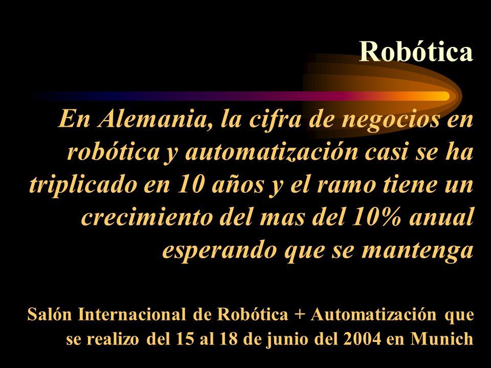 Robótica En Alemania, la cifra de negocios en robótica y automatización casi se ha triplicado en 10 años y el ramo tiene un crecimiento del mas del 10% anual esperando que se mantenga Salón Internacional de Robótica + Automatización que se realizo del 15 al 18 de junio del 2004 en Munich