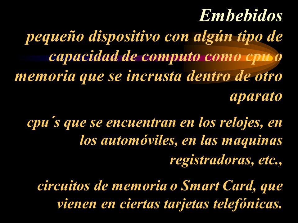 Embebidos pequeño dispositivo con algún tipo de capacidad de computo como cpu o memoria que se incrusta dentro de otro aparato cpu´s que se encuentran en los relojes, en los automóviles, en las maquinas registradoras, etc., circuitos de memoria o Smart Card, que vienen en ciertas tarjetas telefónicas.