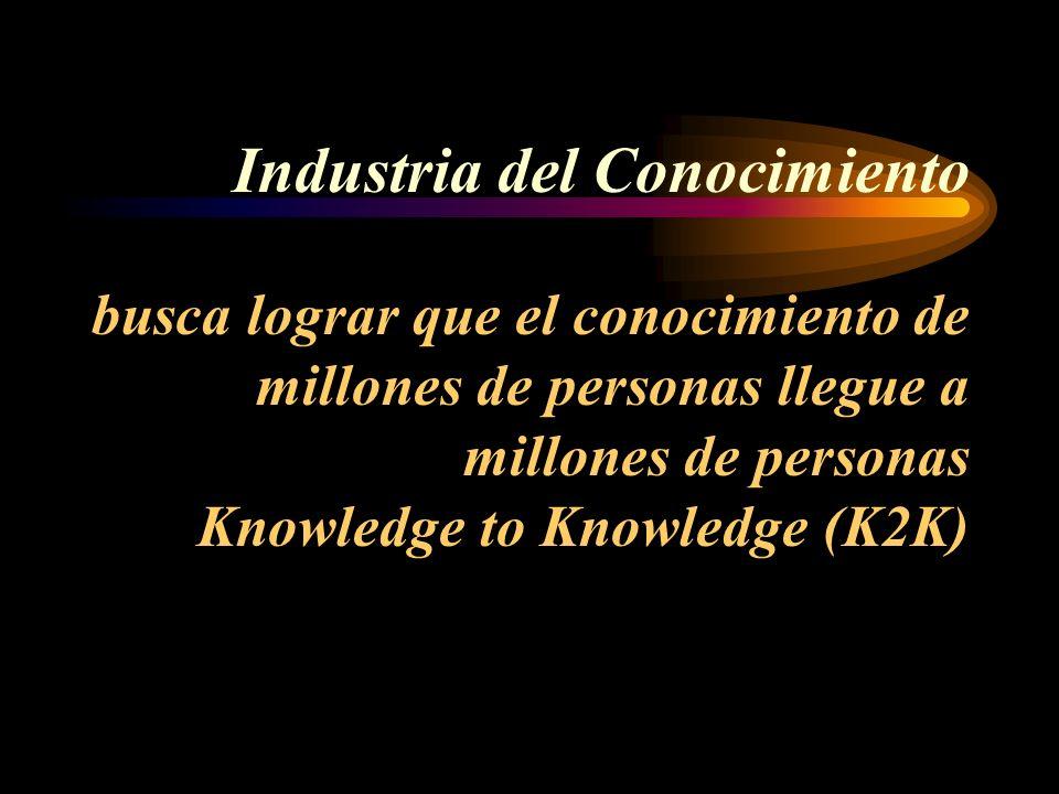 Industria del Conocimiento busca lograr que el conocimiento de millones de personas llegue a millones de personas Knowledge to Knowledge (K2K)