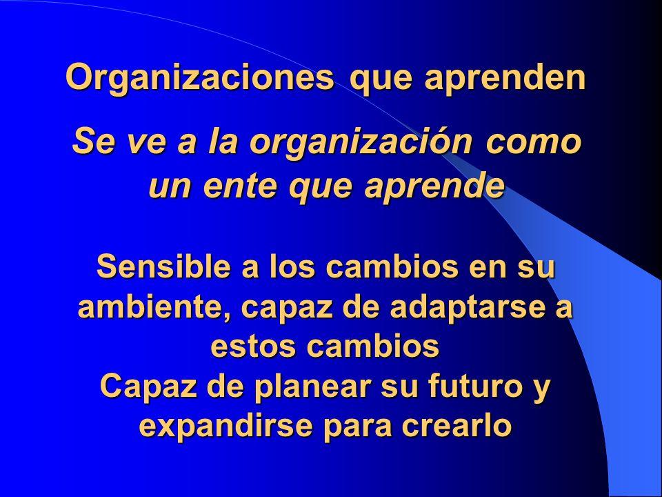 Organizaciones que aprenden Se ve a la organización como un ente que aprende Sensible a los cambios en su ambiente, capaz de adaptarse a estos cambios Capaz de planear su futuro y expandirse para crearlo