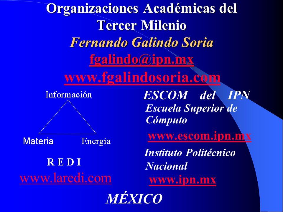 Organizaciones Académicas del Tercer Milenio Fernando Galindo Soria fgalindo@ipn.mx www.fgalindosoria.com