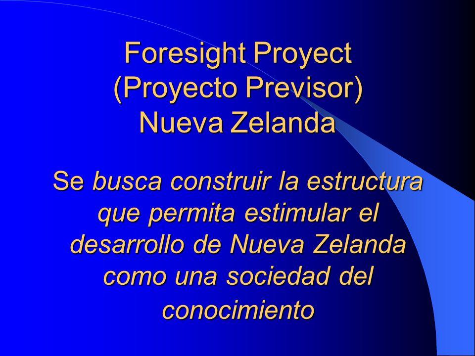 Foresight Proyect (Proyecto Previsor) Nueva Zelanda Se busca construir la estructura que permita estimular el desarrollo de Nueva Zelanda como una sociedad del conocimiento