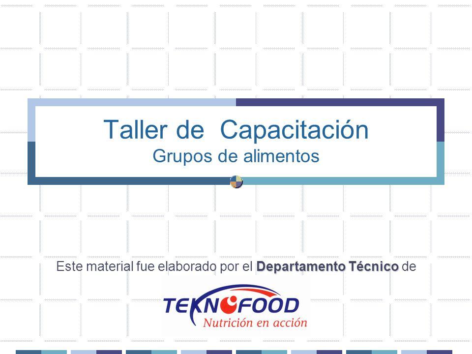 Taller de Capacitación Grupos de alimentos