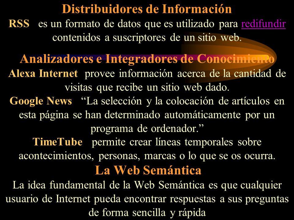 Distribuidores de Información RSS es un formato de datos que es utilizado para redifundir contenidos a suscriptores de un sitio web.
