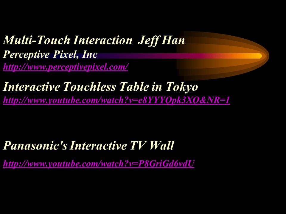 Multi-Touch Interaction Jeff Han Perceptive Pixel, Inc