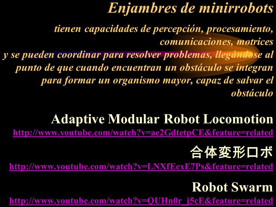 Enjambres de minirrobots tienen capacidades de percepción, procesamiento, comunicaciones, motrices y se pueden coordinar para resolver problemas, llegándose al punto de que cuando encuentran un obstáculo se integran para formar un organismo mayor, capaz de salvar el obstáculo Adaptive Modular Robot Locomotion http://www.youtube.com/watch v=ae2GdtetpCE&feature=related 合体変形ロボ http://www.youtube.com/watch v=LNXfEexE7Ps&feature=related Robot Swarm http://www.youtube.com/watch v=QUHn0r_j5cE&feature=related