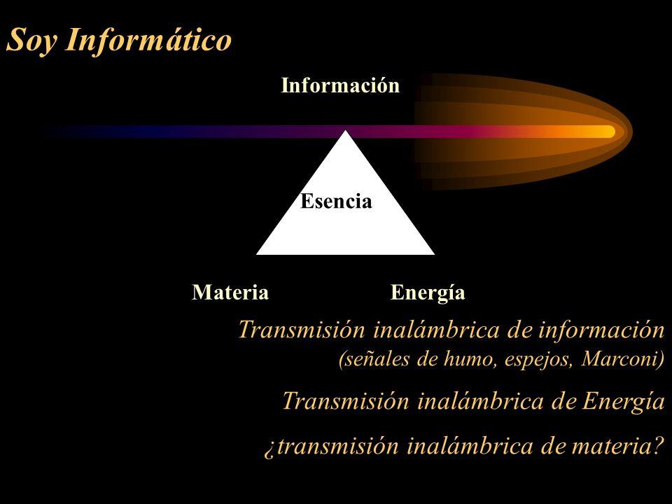 Soy Informático Información. Materia. Energía. Esencia. Transmisión inalámbrica de información (señales de humo, espejos, Marconi)