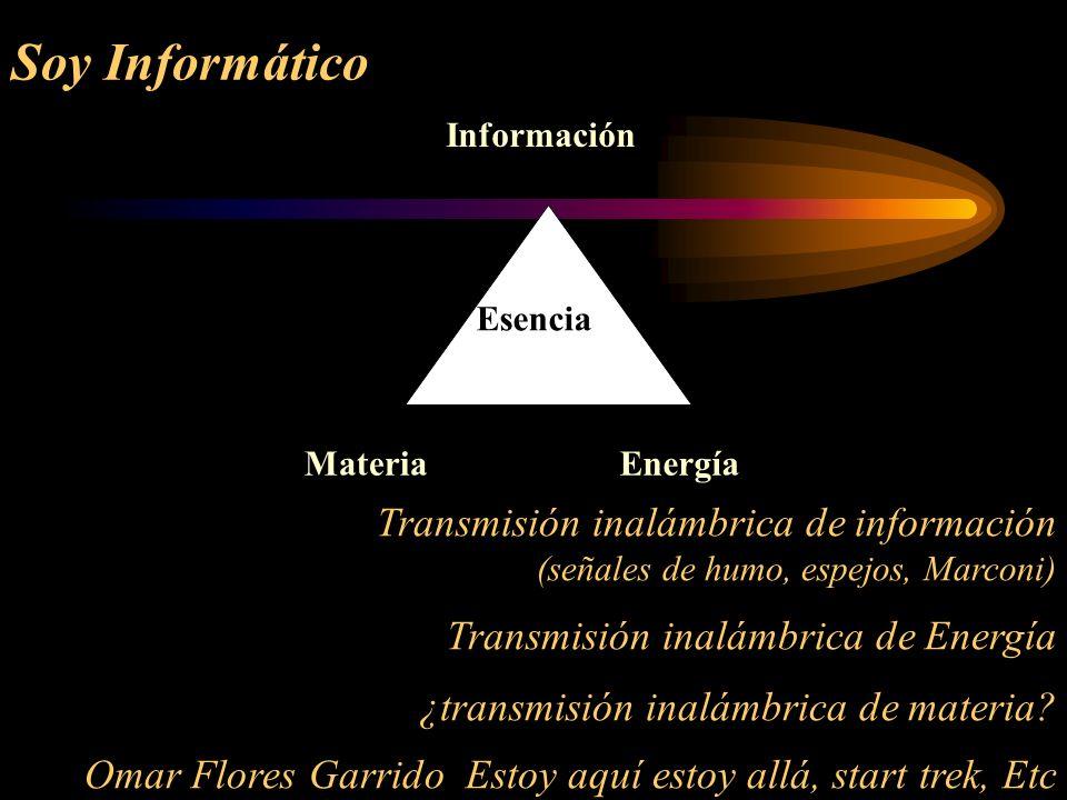 Soy InformáticoInformación. Materia. Energía. Esencia. Transmisión inalámbrica de información (señales de humo, espejos, Marconi)