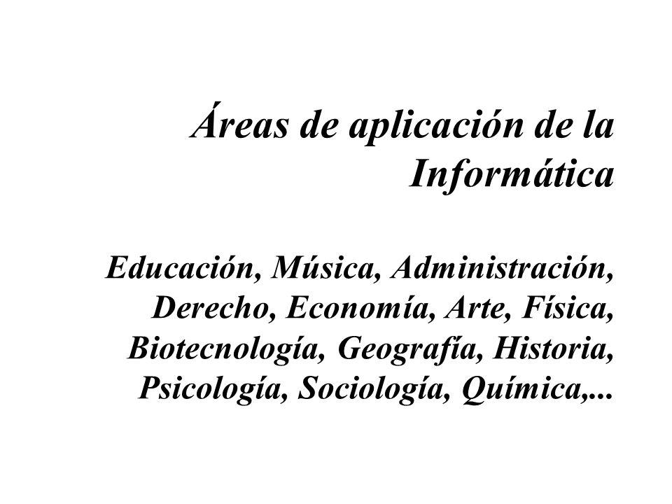 Áreas de aplicación de la Informática Educación, Música, Administración, Derecho, Economía, Arte, Física, Biotecnología, Geografía, Historia, Psicología, Sociología, Química,...