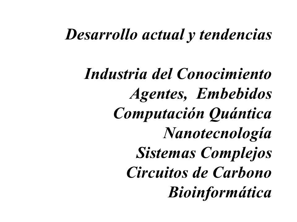 Desarrollo actual y tendencias Industria del Conocimiento Agentes, Embebidos Computación Quántica Nanotecnología Sistemas Complejos Circuitos de Carbono Bioinformática