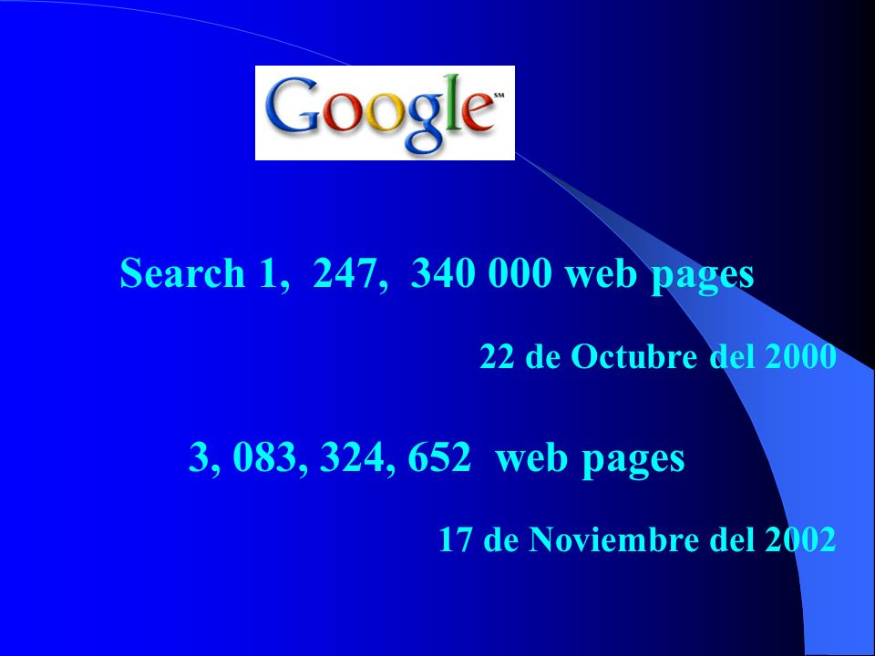 Search 1, 247, 340 000 web pages 3, 083, 324, 652 web pages